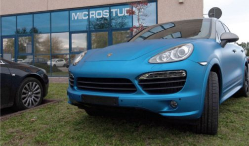 Wrapping Porsche Cayenne Blue and Titanio