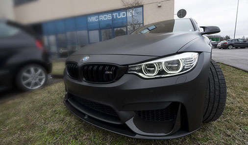 car wrapping bmw M4 Treviso nero  opaco metallizzato