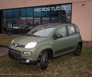 car wrapping Treviso fiat panda verde militare