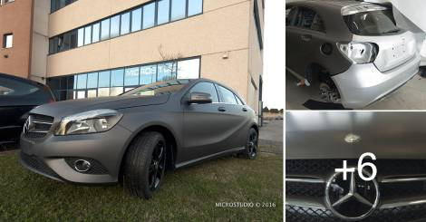 car wrapping grigio opaco mercedes classe A